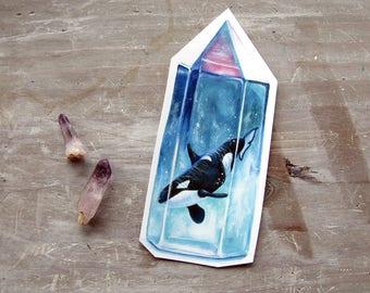 Orca Sticker Crystal - Waterproof Decal - Aura Crystal - Killer Whale Sticker