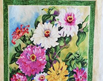Floral Cotton Quilting Panel - Fabric Destash