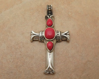 Vintage 925 Sterling Silver Religious Coral Cross Pendant