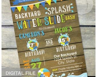 """Splash Water Slide Waterslide Bash Birthday Joint Siblings Party Invitation Rustic Wood Style Blue - DIGITAL Printable Invite - 5"""" x 7"""""""