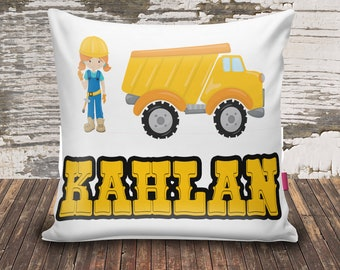 Construction/Dump Truck/Girl/Name/Throw Pillowcase/14x14/velvet/custom print/personalize/kid/baby shower gift/unique baby gift/new baby gift