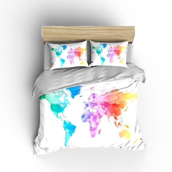 Pastel watercolors world map custom bedding toddler tw qu gumiabroncs Gallery