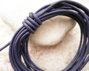 Violet - 2mm Leather Cord - By the Yard