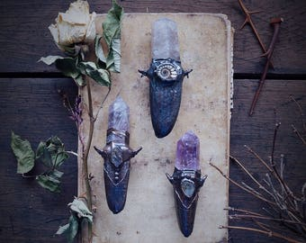 Obelisk and faux antler necklace · natural raw crystal jewelry · electroformed crystal necklace · copper jewelry · raw crystal necklace