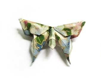 Origami Butterfly Brooch Pastels and Green