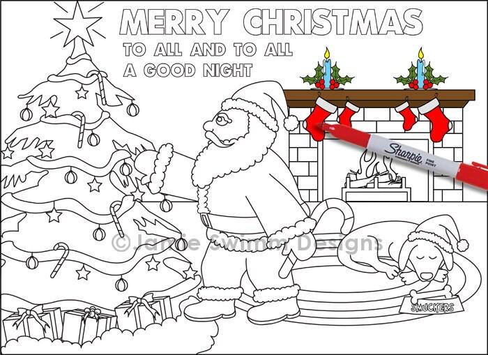 Santa druckbare Farbe Blatt Farbseite Weihnachten