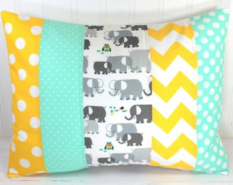 Decorative Pillows, Cushion Cover, Elephant, Throw Pillows, 12 x 16, Nursery Decor, Pillow Cover, Pillow, Nursery, Mint, Gray, Grey, Yellow