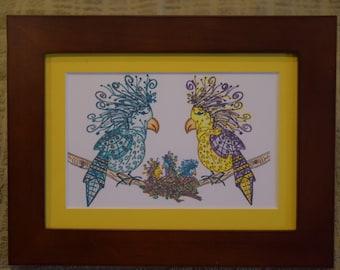 "5 x 7 Wood Framed Tangle Art, Yellow Matting - ""Oscar Doodle Family"""
