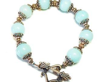 Aqua Jade Gemstone & Antique Copper Bracelet 20.5cm