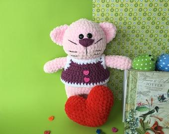 Cat/Crochet cat/For beloved/Crochet toy/Kids gift/Plush toy/Handmade toy/Heart/ Kitty toy/Amigurumi toy/Plushy/Crochet heart