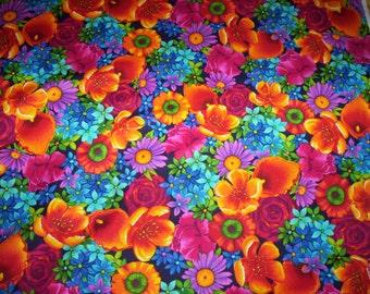 "1 yard x 44"" Paradise Chong-A Hwang Timeless Treasures fabrics flowers vivid"