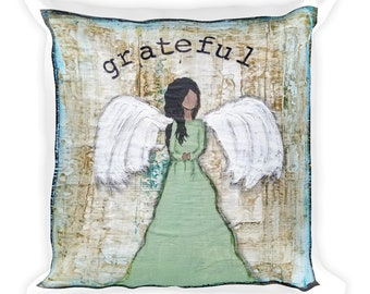 Square Pillow, Grateful Angel Mixed Media