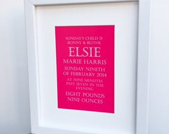 Birth details keepsake print