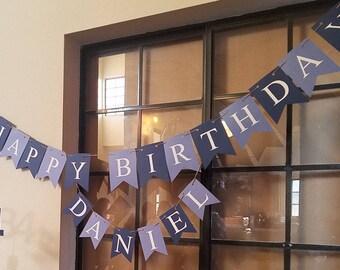 Happy Birthday Banner, Blue banner, boys birthday,