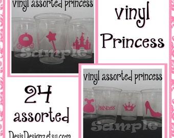 24 Princess Birthday Party vinyl decals Princess party decorations Princess party stickers vinyl cup sticker vinyl Royal princess Party cups