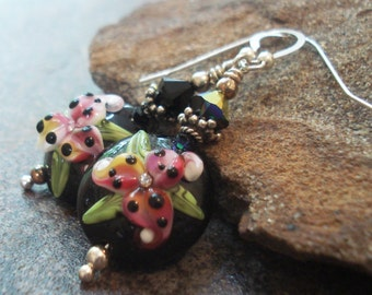 Floral Art Glass Earrings - Pink Lilies on Black - Lampwork Earrings - Handcrafted Jewelry - Handmade Earrings - Sterling Silver - Artisan