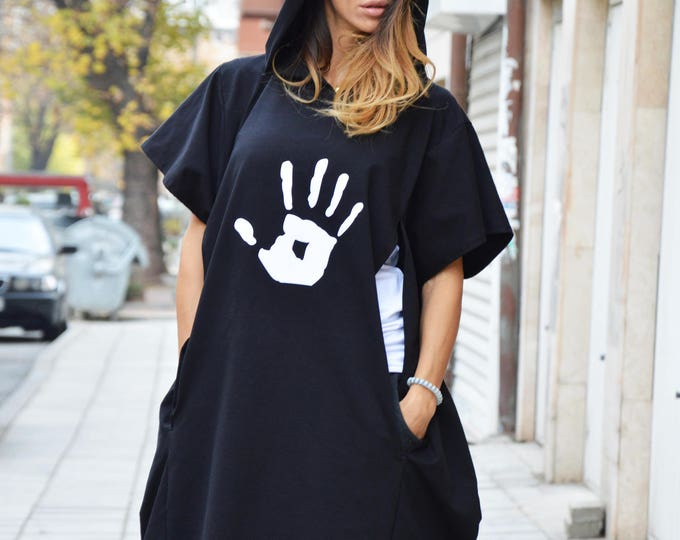 Black Top, Cotton Hooded Tunic Top, Sweatshirt With Hand Print, Maxi Sport Hooded, Long New Blouse by SSDfashion