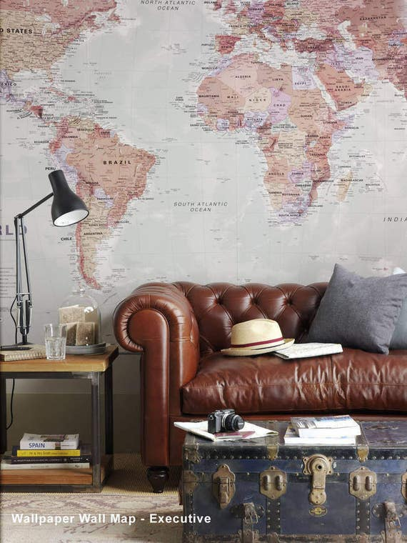 World map wallpaper home decor living room study map of gumiabroncs