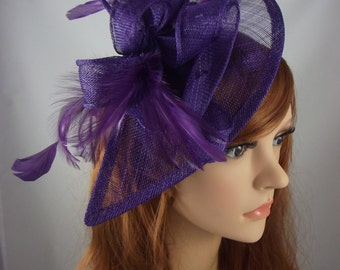 Purple Teardrop Sinamay Fascinator with Feathers - Wedding Races Special Occasion Hat