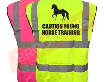 Equestrian Hi Vis Viz Vest Caution Young Horse Training Reflective Safety Waistcoat