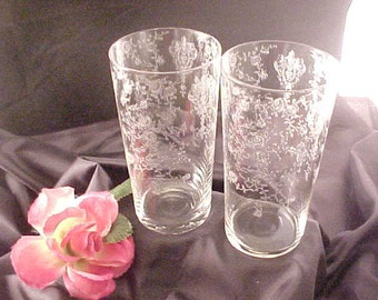 Elusive Cambridge Rose Point 12 Oz. Straight Soda Tumblers (2), Vintage Elegant Glassware of Depression Era, Old Etched Glass Dinnerware