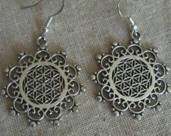 Flower of life Sacred Geometry Silver Earrings