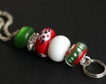 Christmas Lanyard. Badge Holder . Reindeer Lanyard. Badge Lanyard. Holiday Lanyard. Red and Green Lanyard. ID Lanyard. Badge Necklace.