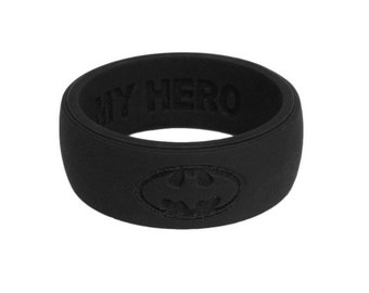 Custom Silicone Wedding Ring BLACK Anniversary Gift Premium Silicone Wedding Rings For Men Personalized  Ring Gift for Husband Safe Ring