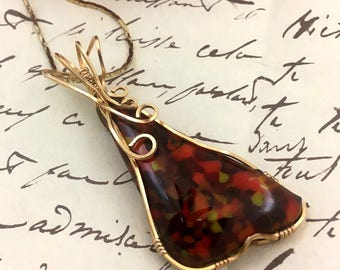 Burning Embers Fused Glass  Pendant        Wire Wrapped Pendant           item 1064