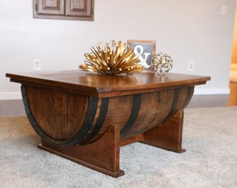 Whiskey Barrel Coffee Table. Coffee Table. Modern Rustic Industrial. Solid  Wood Table. Living Room Decor. Furniture. Farmhouse Coffee Table.