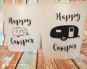 Trailer trash, happy camper plastic garbage bin