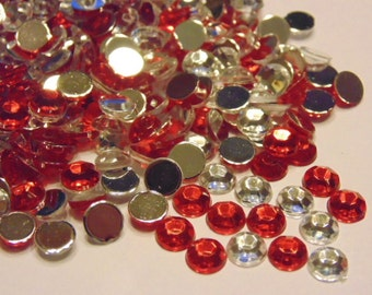 50 piece red and clear rhinestone mix, 7 mm (S6)