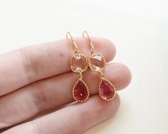 Pink drop earrings, pink dangle earrings, wedding earrings, pink wedding jewelry