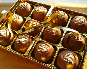 Fudgy Amazeballs - Box of 12 Handmade, Belgian chocolate fudge truffles // Gift for Her // Chocoholic