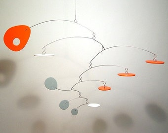 Modern Orange Grey White Best Baby Mobile art sculpture Eliptusmobius Small Nursery Decor 20w x 13h