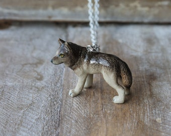 Wolf hand painted ceramic necklace