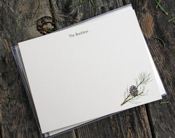 Pine Pinecone Custom Stationery Notecards, Pine Branch Stationery. Thank You, Any Occasion, Personalize Watercolor Print, Set of 10.