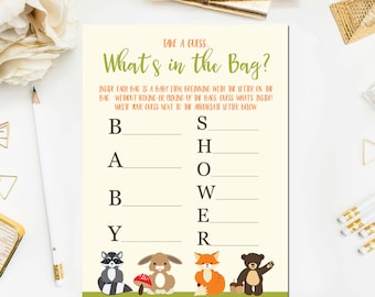 Attractive Whatu0027s In The Bag Baby Shower Game, Baby Shower Game Printable, Woodland Baby  Shower Games, Whatu0027s In The Bag Game Instant Download BB4
