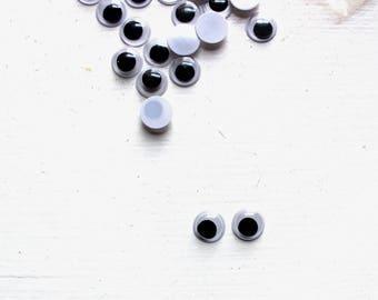 10mm Goggle Eyes, Glue on Moving Eyes, Wobbly Eyes, 10mm Joggle Eyes, Goggly Eyes, Kids' Crafting, Card-making Supply