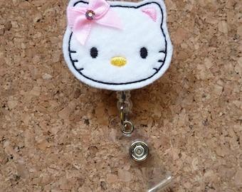 CAT Badge Reel, , Lanyard, Retractable Id Holder, Nurse Gift, Teacher Gift,  107