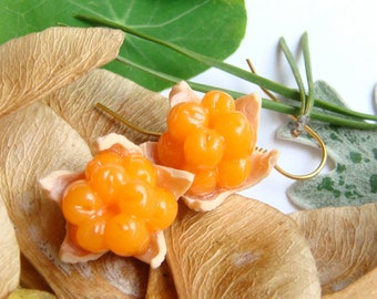 Cloudberry Earrings Cloudberries Bakeapple  Knotberry Knoutberry Evron Salmonberry  Yellowberry