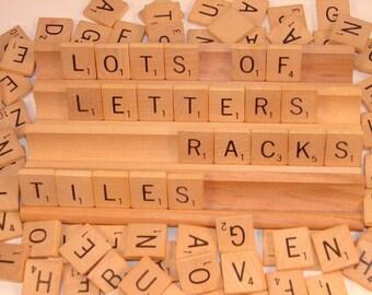 100 Vintage 1976  Wooden Scrabble Tiles and 4 Wooden Racks