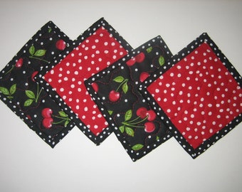 """Fabric Coasters for Drinks, Red Cherries on Black Retro, Quilted, Gifts under 20, 5x5"""", Hostess Bunco Teacher Gift Handmade Reversible"""