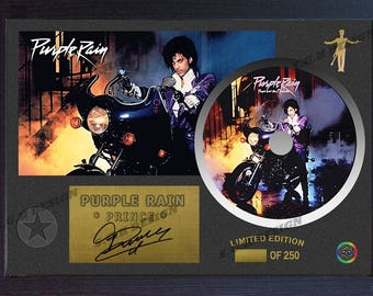PRINCE Signed FRAMED Photo CD Disk Purple Rain Perfect gift