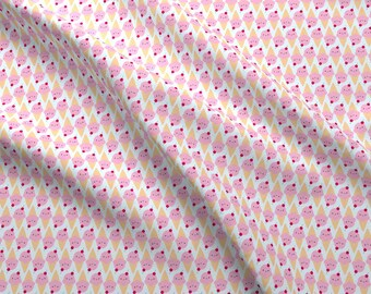 Kawaii Ice Cream Fabric - Kawaii Ice Cream Cones By Marcelinesmith - Cute Kawaii Summertime Cotton Fabric By The Yard With Spoonflower