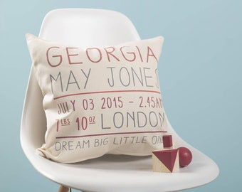 Personalised Baby Details Cushion Pillow