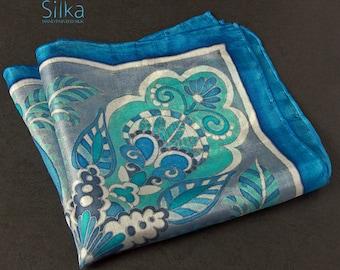 Hand painted silk pocket square,  blue pocket square,  silk pocket square, gift for him,  wedding pocket square, Valentines gift for him