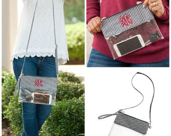 Houndstooth Game Day Clear Zip Purse
