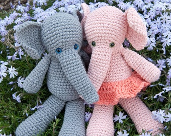 PDF Crochet Pattern - Morris and Matilda Amigurumi Elephant Dolls