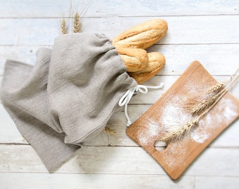 Bread keeper Drawstring bag - Bread bag - Natural Linen Bag - Reusable Storage Bag